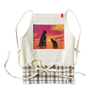 Dog and cat friendship at sunset zazzle HEART apron