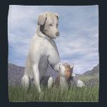 "Dog and cat friendship bandana<br><div class=""desc"">Dog and cat friendship in the grass by day</div>"