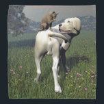 "Dog and cat friendship bandana<br><div class=""desc"">Labrador dog and abyssin cat friendship</div>"