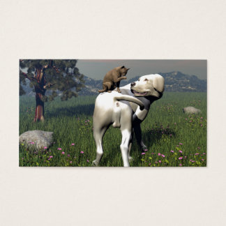 Dog and cat friendship business card