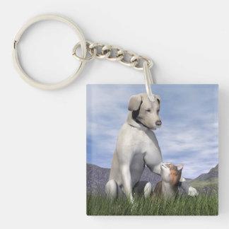 Dog and cat friendship keychain