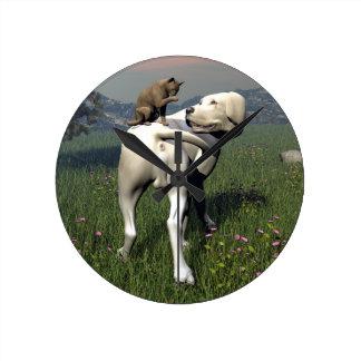 Dog and cat friendship round clock