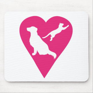 Dog and Cat Heart Mouse Pad