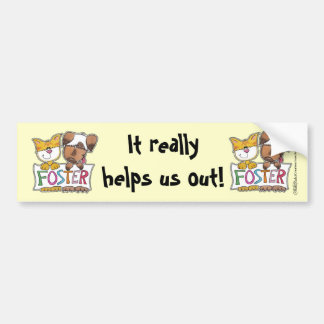 Dog and Cat Hold FOSTER Banner Bumper Sticker