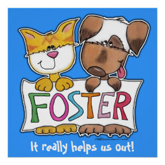 Dog and Cat Hold FOSTER Banner Poster