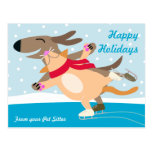 Dog and Cat Ice Skating-Happy Holidays Postcard