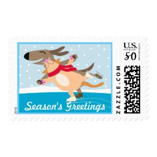 Dog and Cat Ice Skating-Season's Greetings Postage