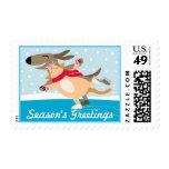 Dog and Cat Ice Skating-Season's Greetings Postage