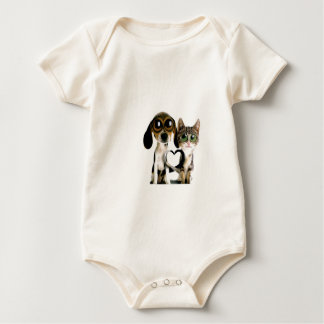Dog and Cat in Love Baby Bodysuit