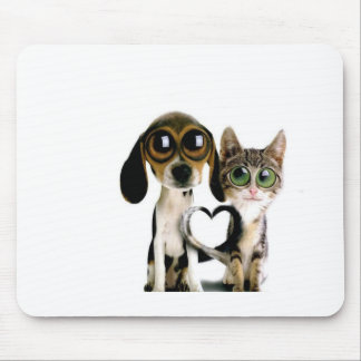 Dog and Cat in Love Mouse Pad