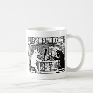 Dog and Cat in the Library Classic White Coffee Mug