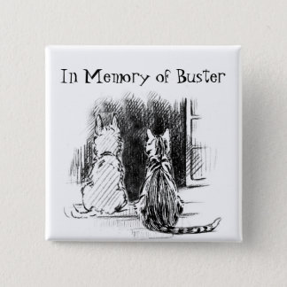 Dog and Cat Looking Out Window, Pet Sympathy Pinback Button