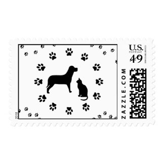 Dog and Cat Postage Stamp