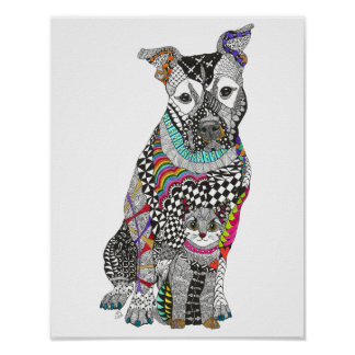 """Dog and Cat Poster -  11""""x14"""" (You can Customize)"""