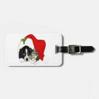 Dog and Cat Sharing Santa Hat Bag Tag