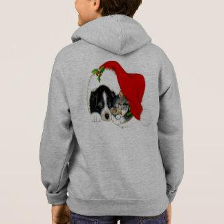 Dog and Cat Sharing Santa Hat Hoodie