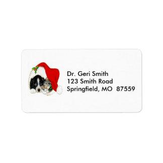 Dog and Cat Sharing Santa Hat Label
