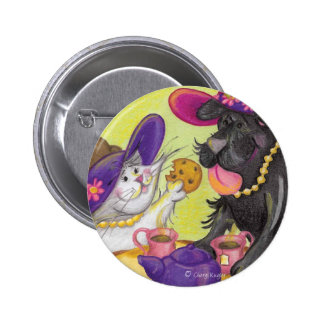 Dog and Cat Tea Party Button