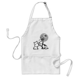 DOG AND CAT THOUGHT PROCESSES ADULT APRON