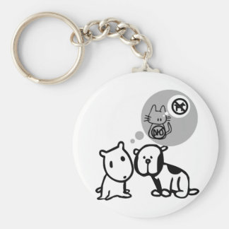 DOG AND CAT THOUGHT PROCESSES KEYCHAIN