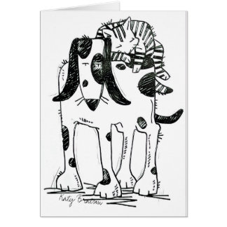 Dog and Cat Twogether Card