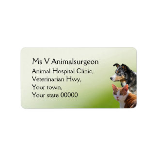 Dog and cat vets label
