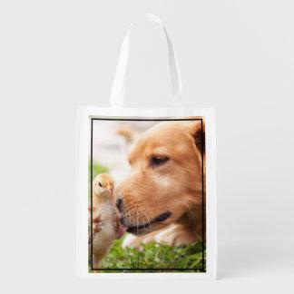 Dog and Chick Grocery Bag