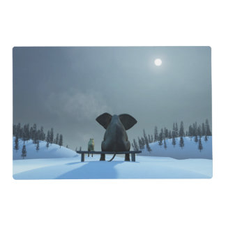 Dog and Elephant Friends Laminated Placemat