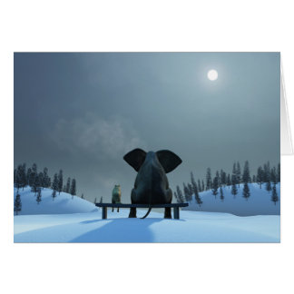 Dog and Elephant Friends Note Card