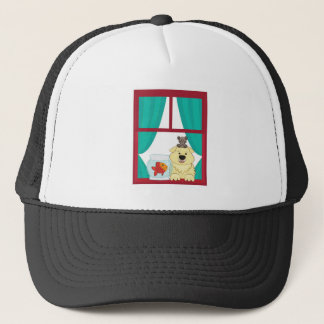 Dog and fish trucker hat