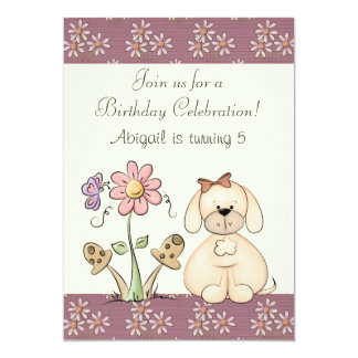 Dog and Flowers Birthday Invitation for Girls