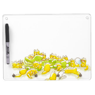 Dog and Full of Cats Funny illustration Dry Erase Board With Keychain Holder