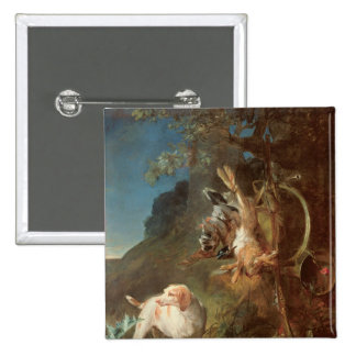 Dog and Game, 1730 2 Inch Square Button