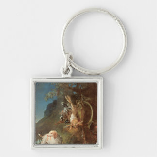 Dog and Game, 1730 Silver-Colored Square Keychain