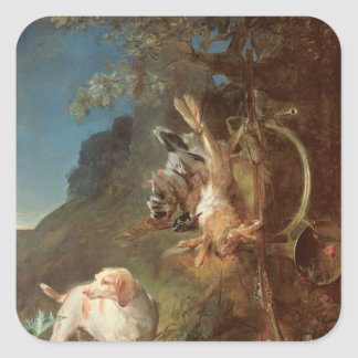 Dog and Game, 1730 Square Sticker