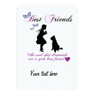 Dog and girl best friends personalised invites