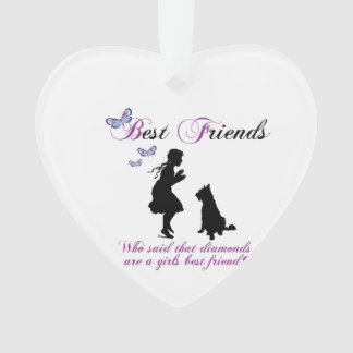 Dog and girl best friends ornament
