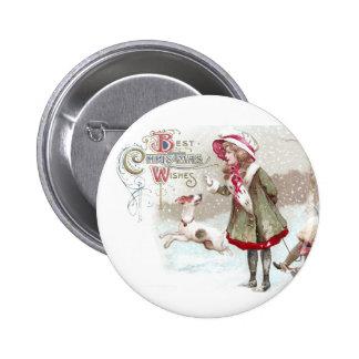 Dog and Girl on Sled Vintage Christmas Pinback Button