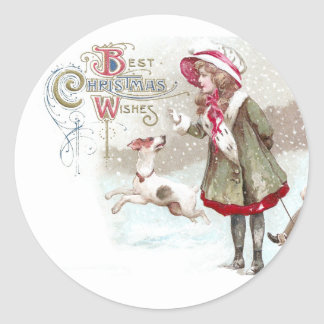Dog and Girl on Sled Vintage Christmas Round Sticker