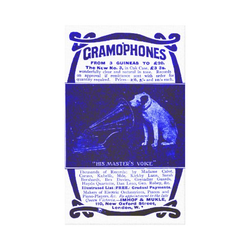 Dog and gramophone canvas print