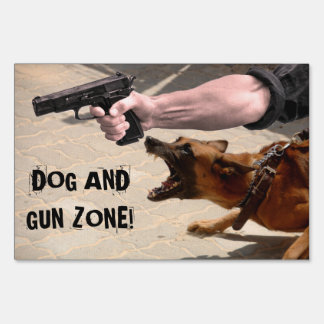 DOG AND GUN ZONE YARD SIGN