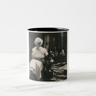 dog and lady in old bonnet coffee mug