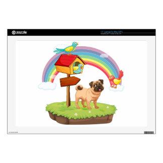 Dog and rainbow laptop skin