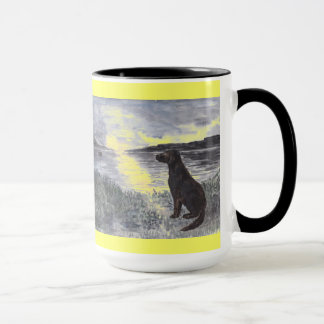 Dog and seascape at sunset. mug