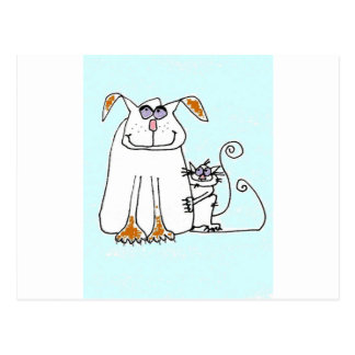 DOG AND SKCAT IN BLUE POSTCARD