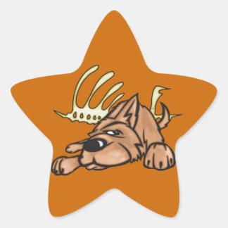 Dog and Skeleton Bones Star Sticker