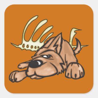 Dog and Skeleton Bones Square Sticker