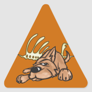 Dog and Skeleton Bones Triangle Sticker