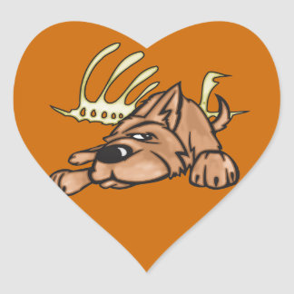 Dog and Skeleton Bones Heart Sticker