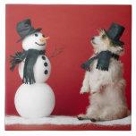 Dog and Snowman Tile